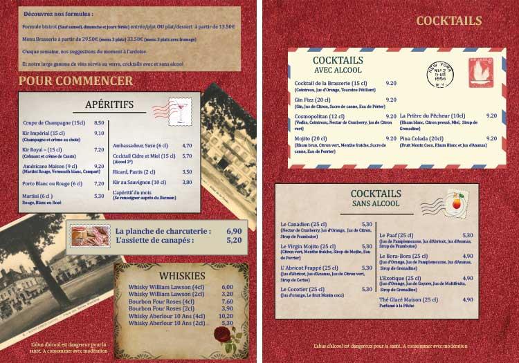 Carte restaurant brasserie de la poste