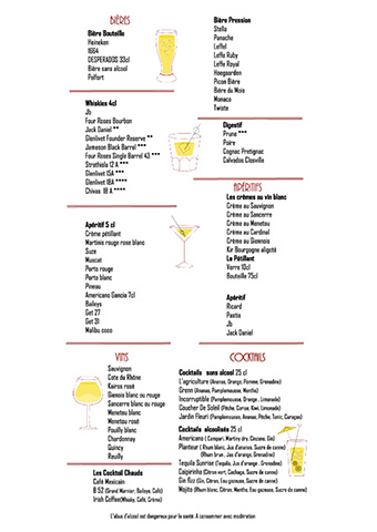 Carte boisson brasserie l'Agriculture