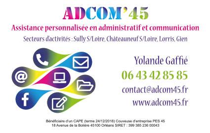 Réalisation de carte de visite ADCOM'45