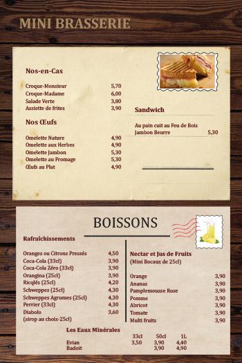 Carte bar brasserie de la poste