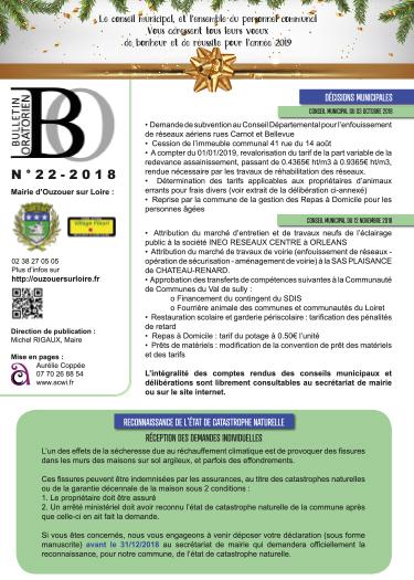 Bulletin municipal d'Ouzouer sur Loire couverture