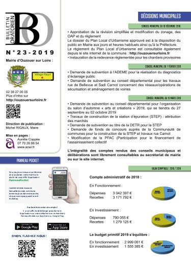 Bulletin municipal Avril 2019 Ouzouer sur loire