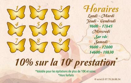 Réalisation carte de visite institut de beauté Métamorphose Briare