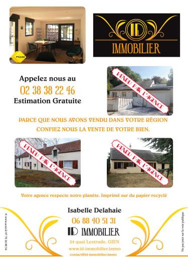 Réalisation de flyer agence immobilière ID Immobilier à Gien