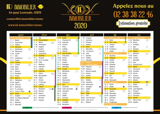 Calendrier 2020 Agence Immobilière ID Immo Gien 45