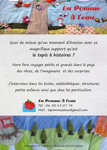 Mise en page du flyer La pomme à l'eau Conteuse pour enfant tapis à histoire